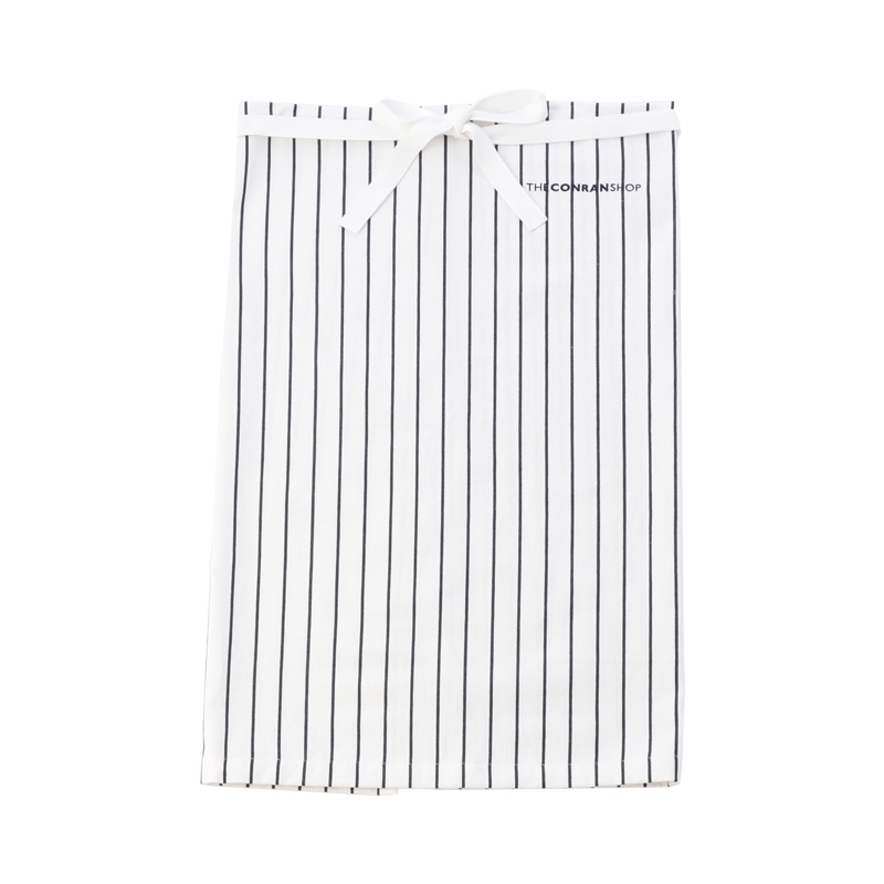 BUTCHER STRIPE WAIST APRON WHITE