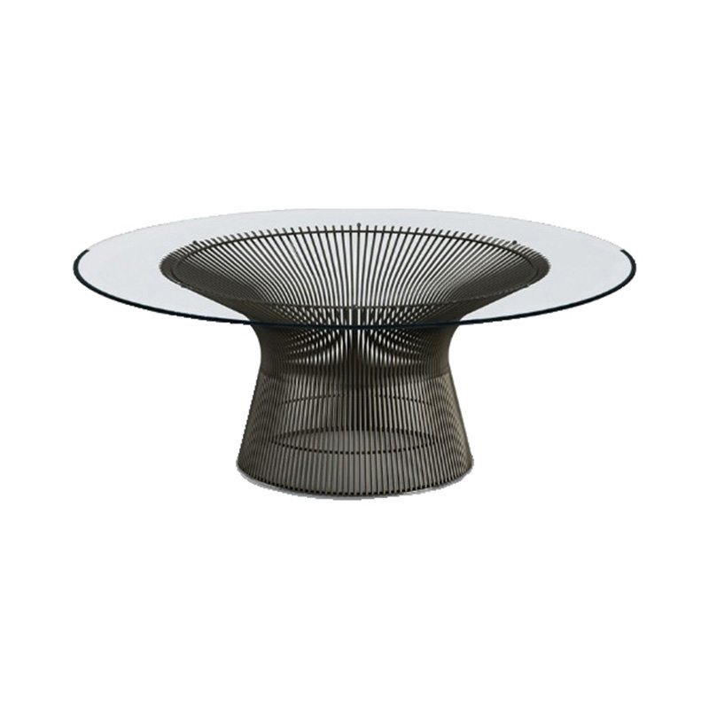 PLATNER COFFEE TABLE  915 BRONZE/CLEAR.GLASS
