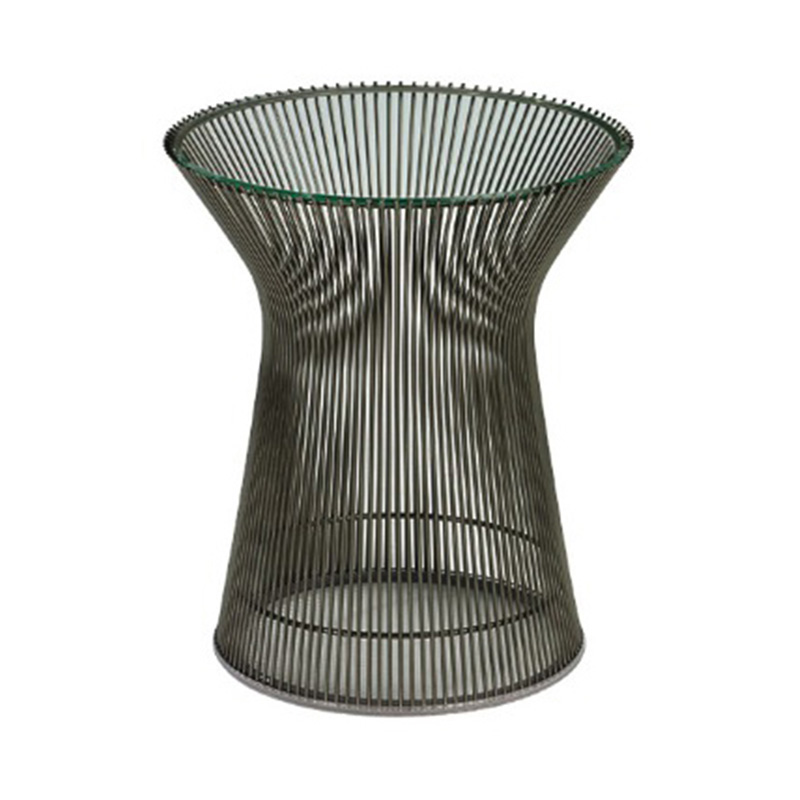 PLATNER SIDE TABLE 400 BRONZE/CLEAR.GLASS