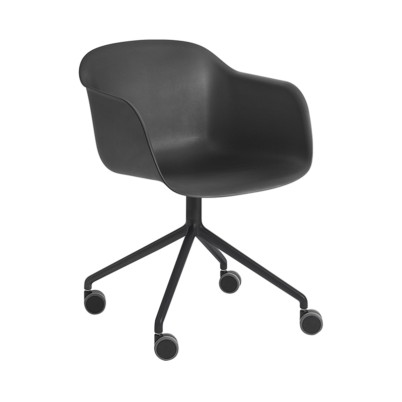 FIBER ARMCHAIR SWIVEL BASE W.CASTOR BK