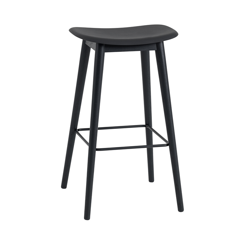 FIBER COUNTER STOOL WOOD BASE H75 BLACK