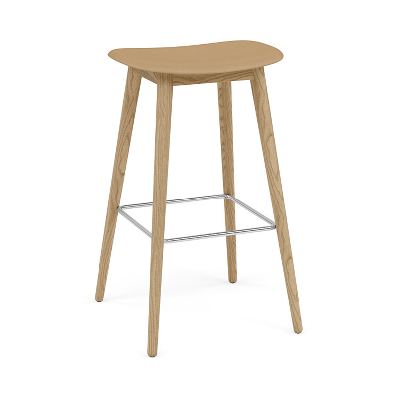 FIBER COUNTER STOOL WOOD H75 OCHRE/OAK