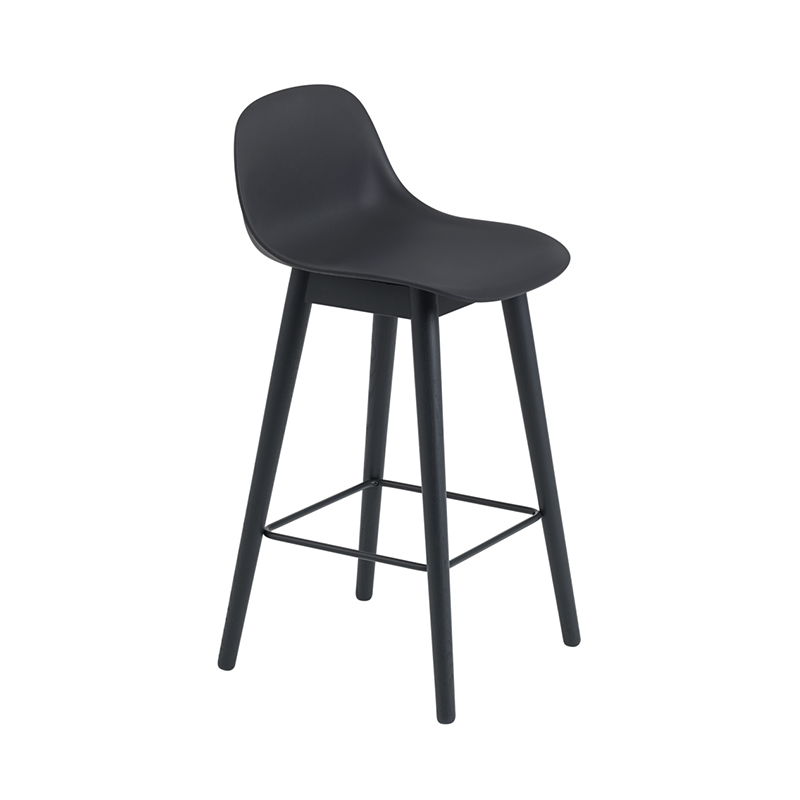FIBER COUNTER STOOL W.B/R WOOD H75 BK