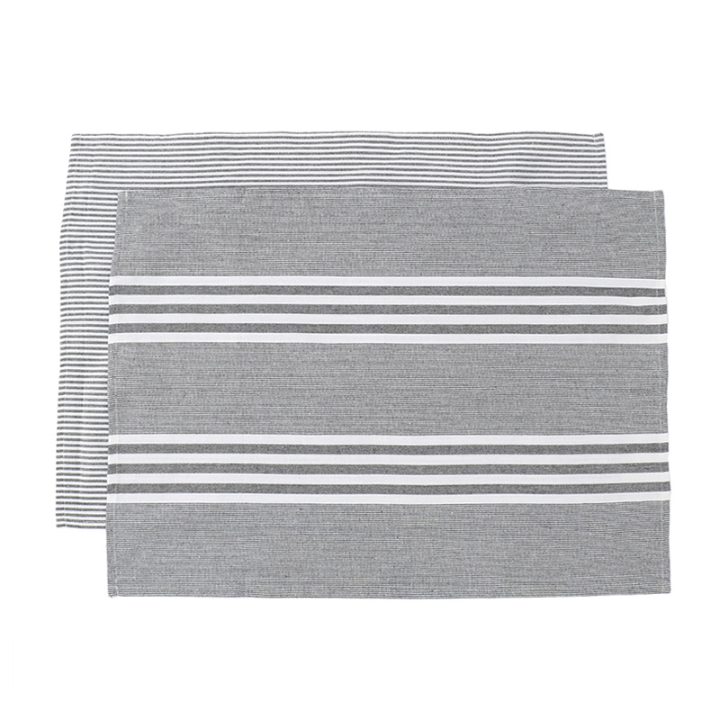 HEREN MOORE REVIVAL TEA TOWELS: DARK GREY STRIPE (PAIR)