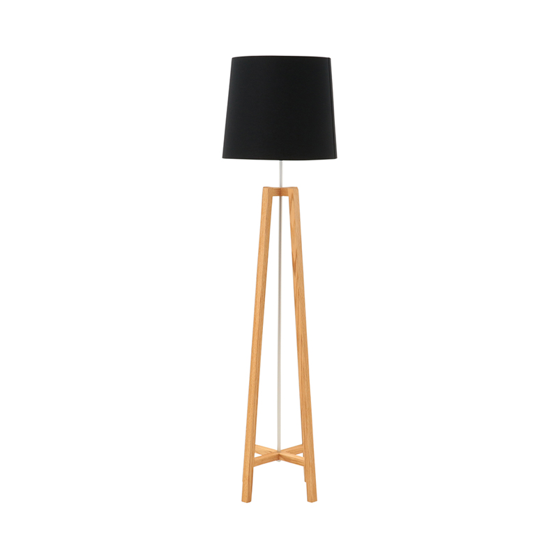CROSS FLOOR LIGHT STAND NATURAL SHADE BLACK