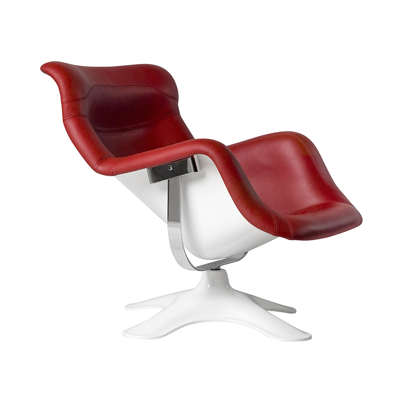 KARUSELLI LOUNGE CHAIR RED LEATHER