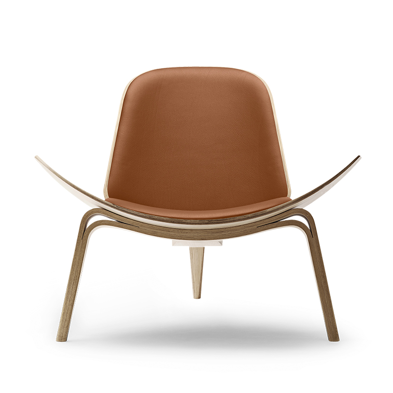 CH07 SHELL CHAIR OAK WHITE OIL THOR307 LIGHT BROWN LEATHER
