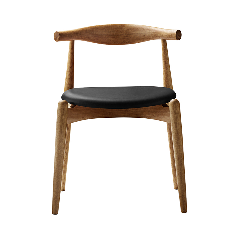 CH20 ELBOW CHAIR OAK OIL THOR301 BLACK LEATHER