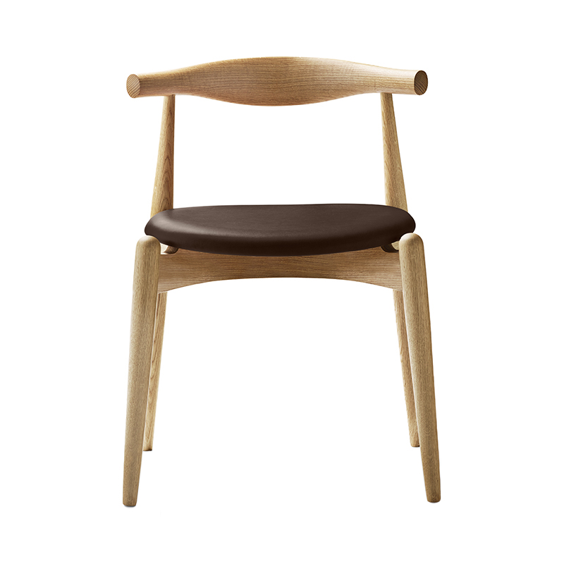 CH20 ELBOW CHAIR OAK OIL THOR306 DARK BROWN LEATHER