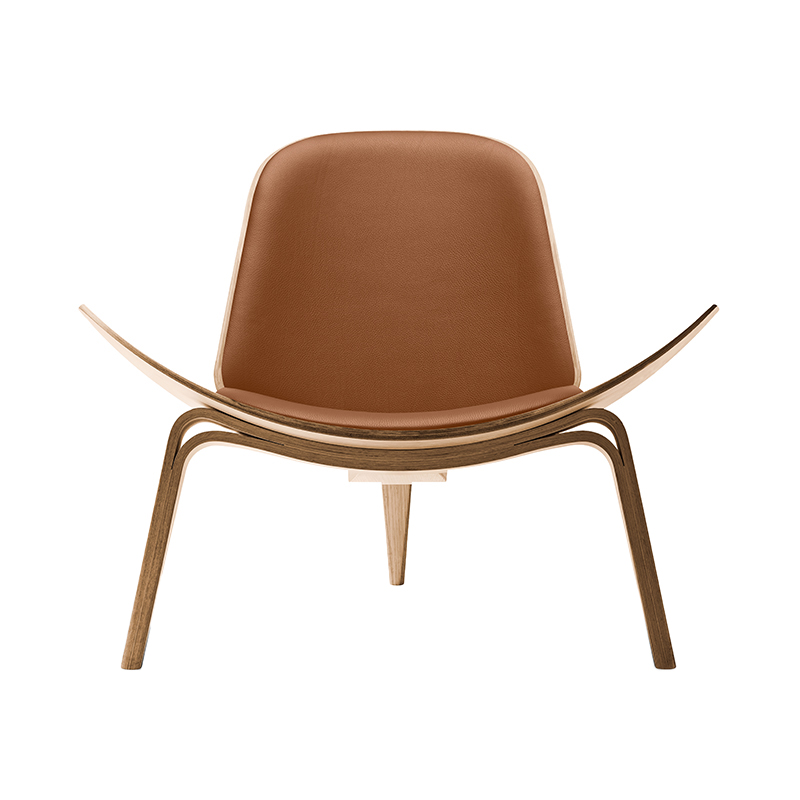 CH07 SHELL CHAIR OAK OIL THOR307 LIGHT BROWN LEATHER