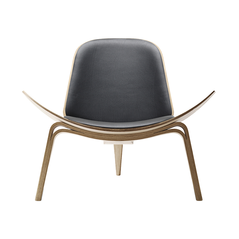 CH07 SHELL CHAIR OAK WHITE OIL THOR301 BLACK LEATHER