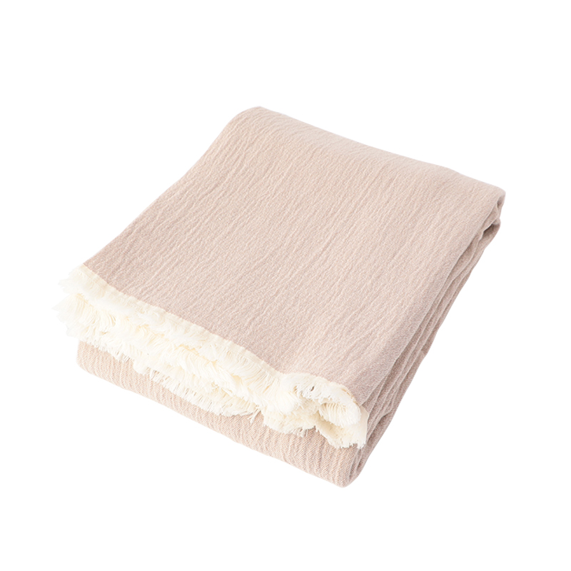STONEWASH COTTON THROW PINK BEIGE