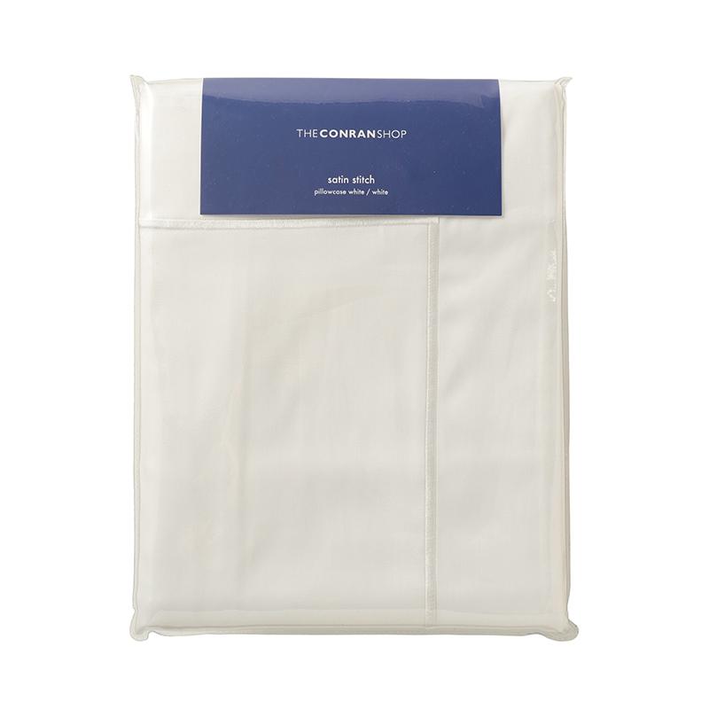 SATIN STITCH 【 PILLOW CASE 】 WHITE / WHITE STITCH