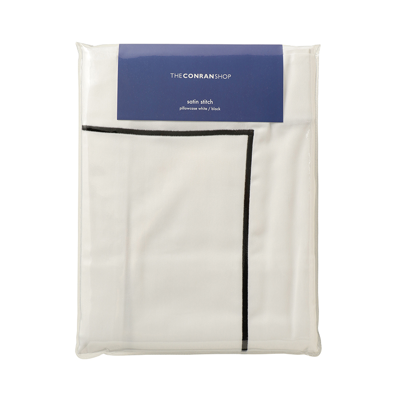 SATIN STITCH PILLOW WHITE / BLACK STITCH