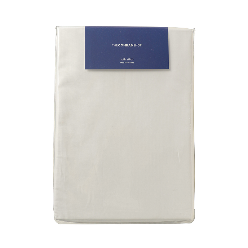 SATIN STITCH FIT SHEET KING WHITE 180X200X30