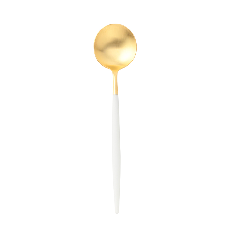 GOA WHITE MATTE GOLD DINNER SPOON