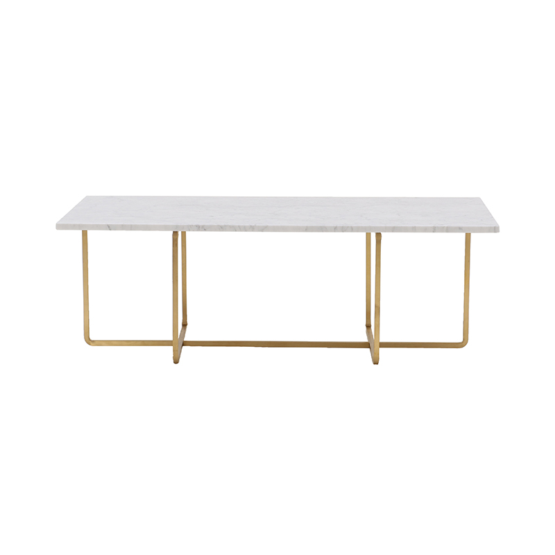 NINETY COFFEE TABLE WHITE CARRARA/BRASS