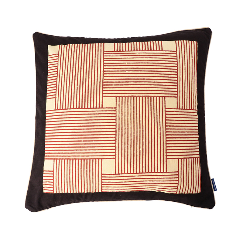 BLOCK PRINT CUSHION COVER KNIT