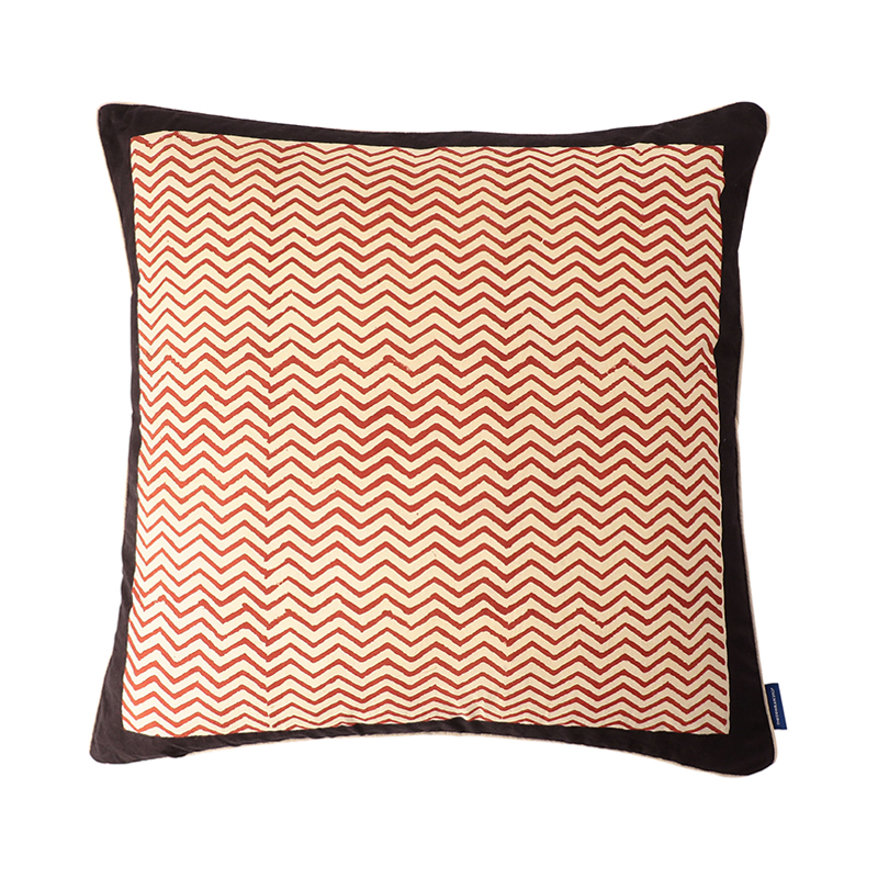 BLOCK PRINT CUSHION COVER ZIGZAG