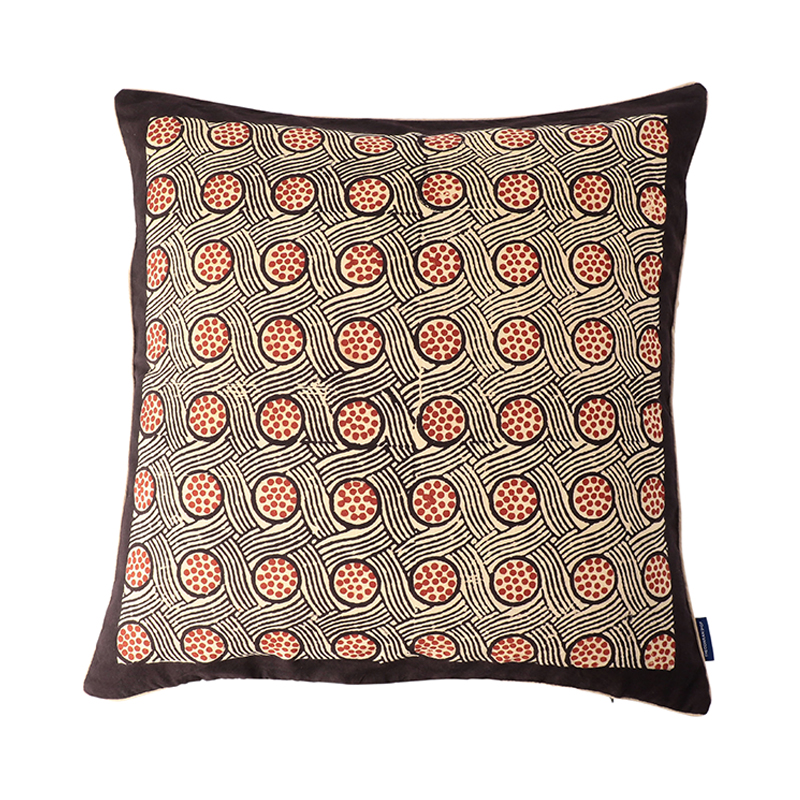 BLOCK PRINT CUSHION COVER VORTEX