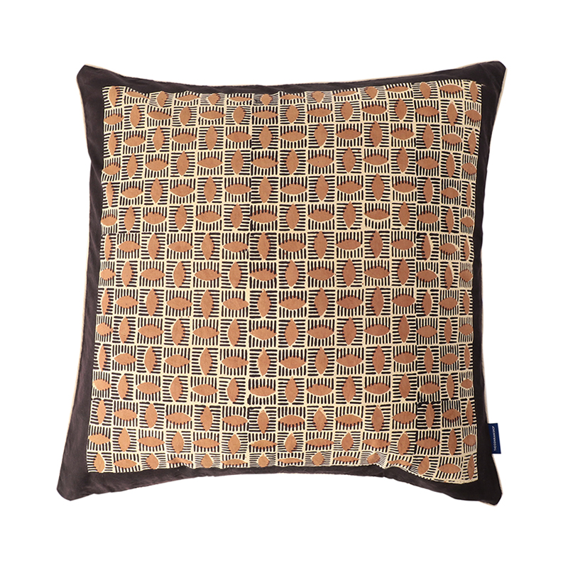 BLOCK PRINT CUSHION COVER ALMOND