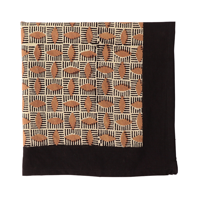 BLOCK PRINT HANDKERCHIEF ALMOND