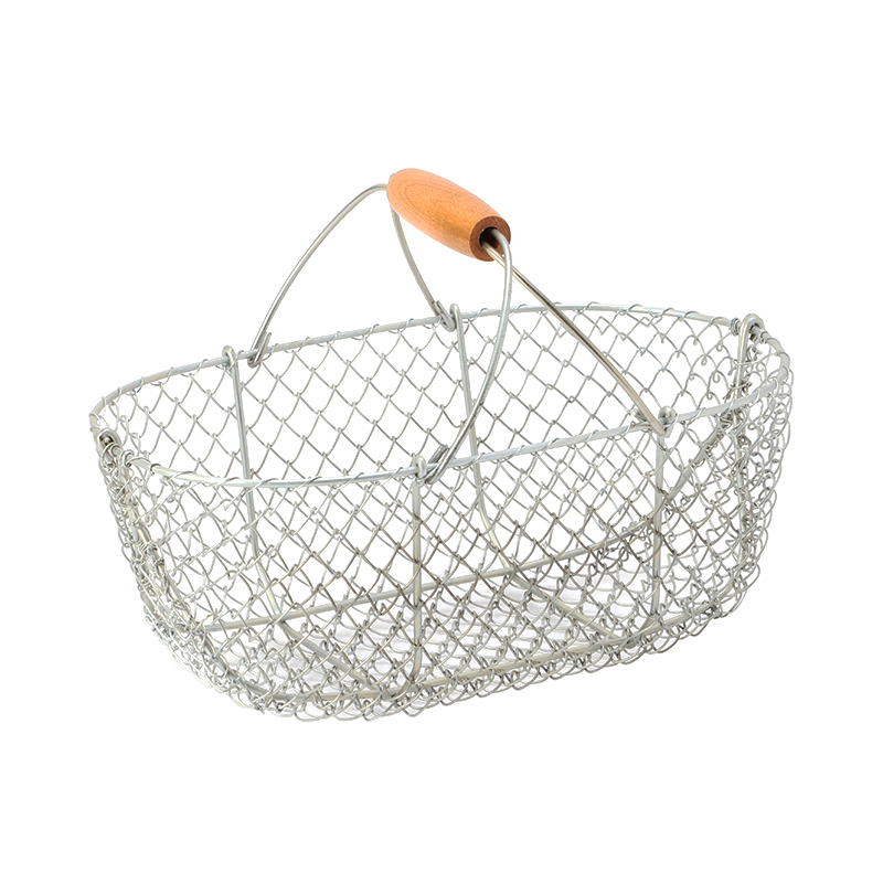 LA BONNE GRAINE GALVANIZED BASKET WOODEN HANDLE 7L