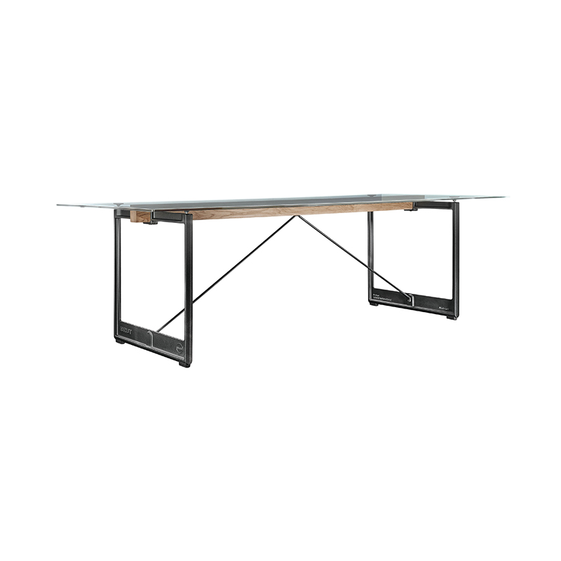BRUT TABLE 260x85 CLEAR GLASS/GREY