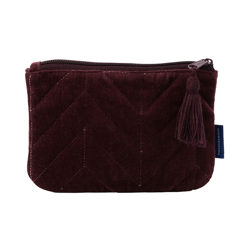 ORIGINAL VIJAY QUILTED POUCH S HERINGBONE / AUBERGINE