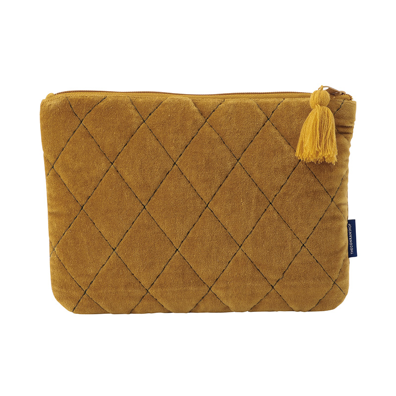 ORIGINAL VIJAY QUILTED POUCH M LATTICE / OCHER