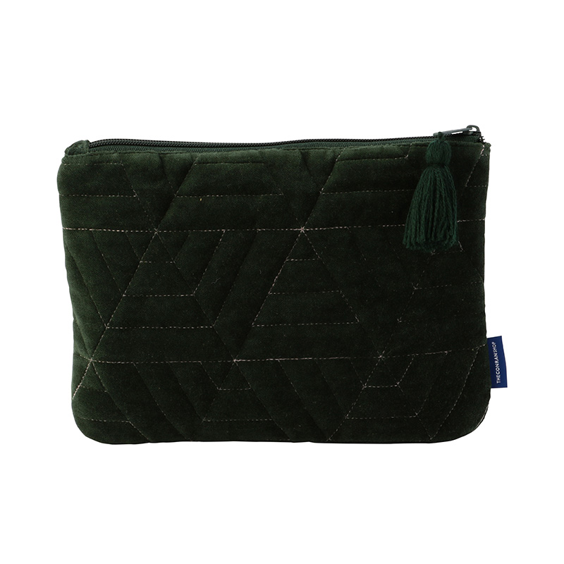 ORIGINAL VIJAY QUILTED POUCH M TRIANGLE / GREEN