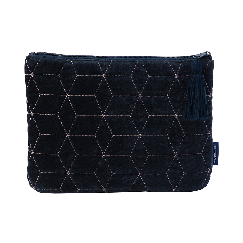 ORIGINAL VIJAY QUILTED POUCH M GEOMETRIC / NAVY