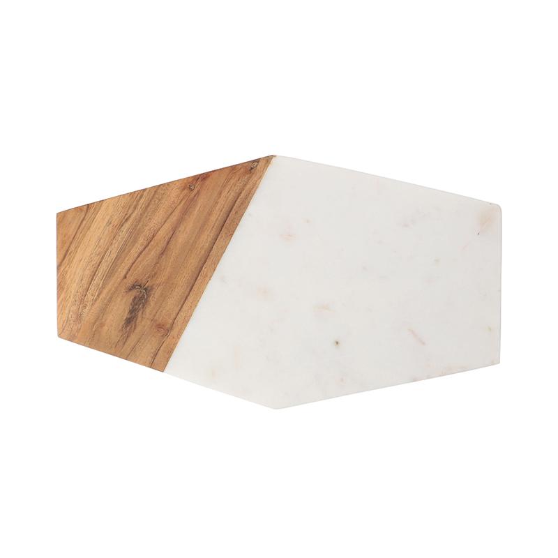 ORIGINAL WHITE MARBLE WOOD CUTTING BOARD HEXAGON