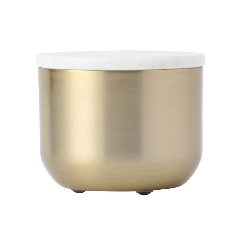 ORIGINAL COTTON JAR GOLD FINISH WHITE MARBLE LID