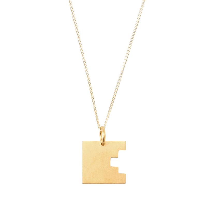 BAUHAUS ALPHABET PENDANTS GOLD E