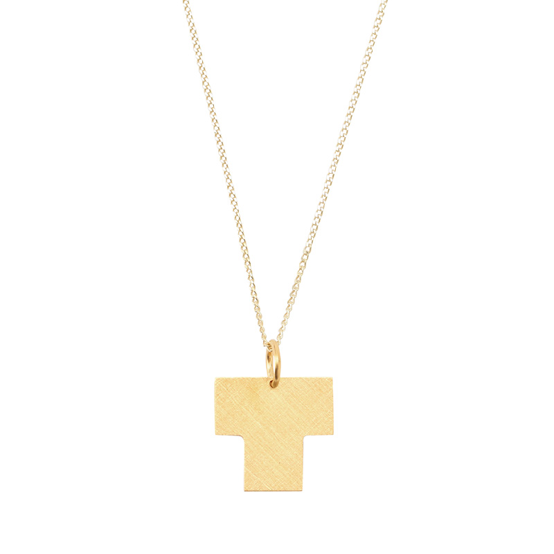 BAUHAUS ALPHABET PENDANTS GOLD T