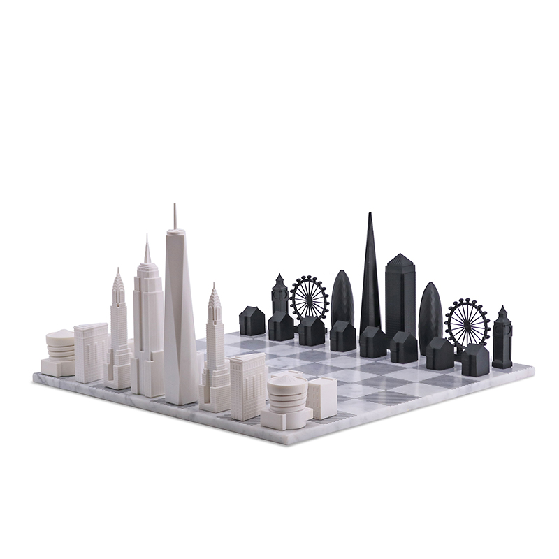 SKYLINE CHESS NY VS LONDON MARBLE BOARD