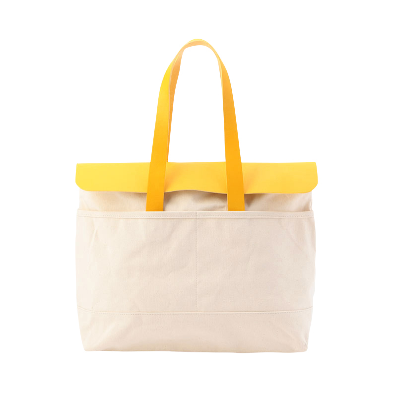 CANVAS TOTE BAG OFF WHITE&YELLOW