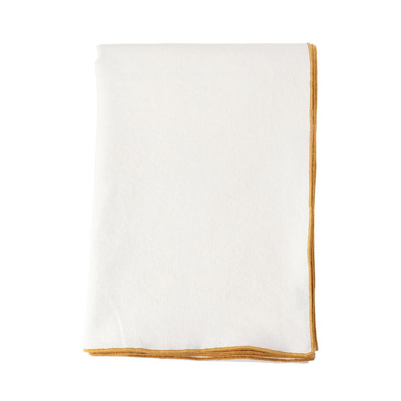 MAISON DE VACANCES/TABLE CLOTH 170X240 BLANC/OCRE