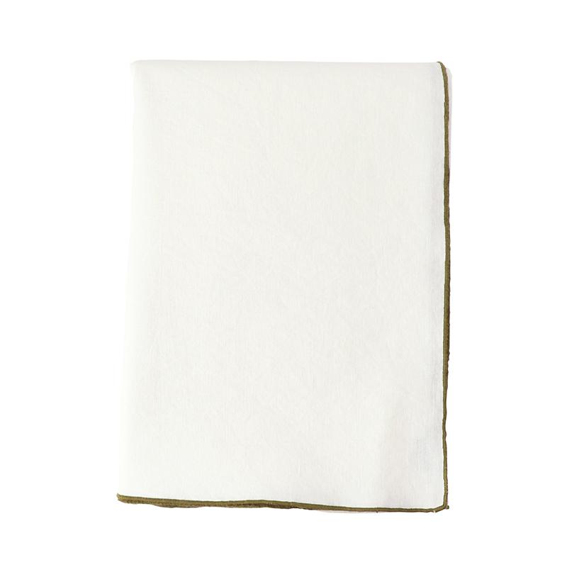 MAISON DE VACANCES/TABLE CLOTH 170X240 BLANC/KAKI