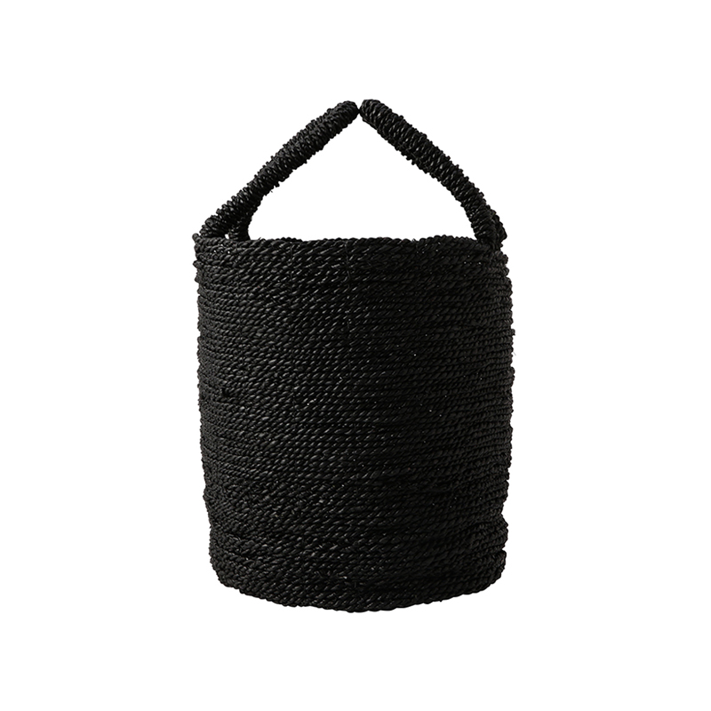 SEAGRASS BASKET BLACK MEDIUM