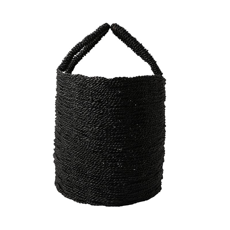 SEAGRASS BASKET BLACK LARGE