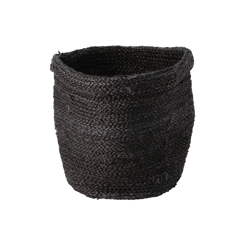 JUTE BASKET ROUND BLACK SMALL