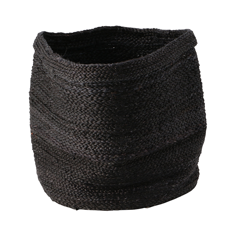 JUTE BASKET ROUND BLACK LARGE
