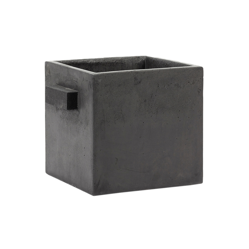 FLOWER POT M CM BLACK L22 W22 H22