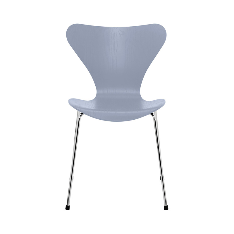 7 CHAIR COLOURED ASH LAVENDER BLUE CHROME LEG