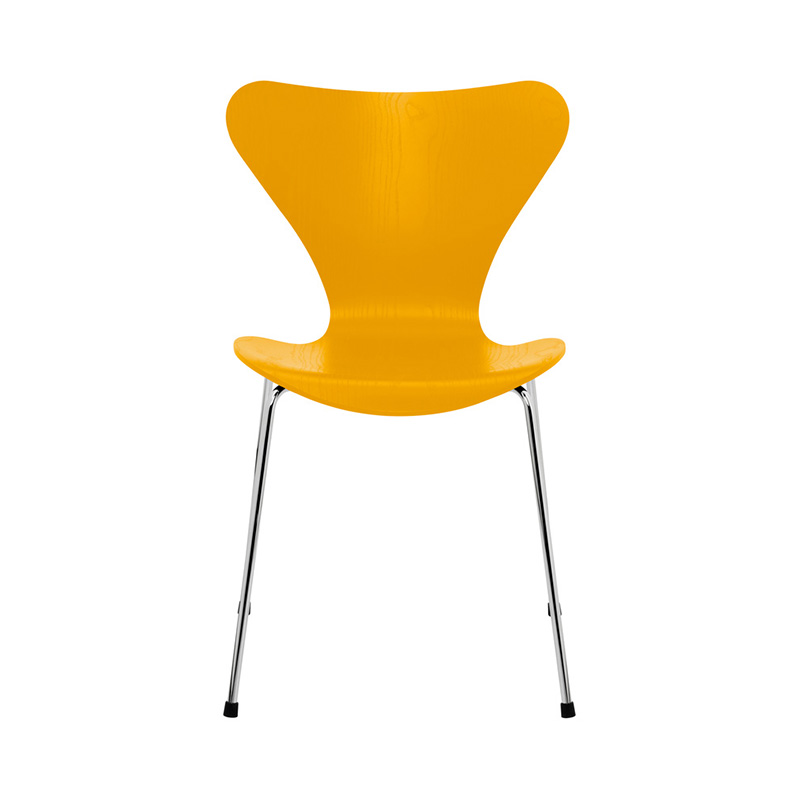 7 CHAIR COLOURED ASH TRUE YELLOW CHROME LEG