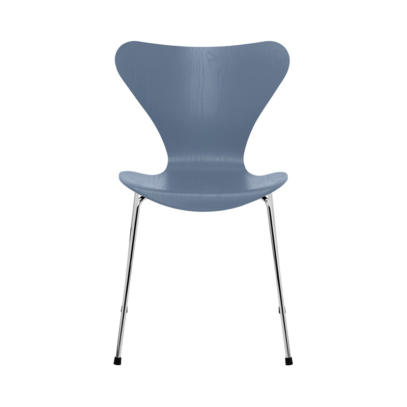 7 CHAIR COLOURED ASH DUSK BLUE CHROME LEG