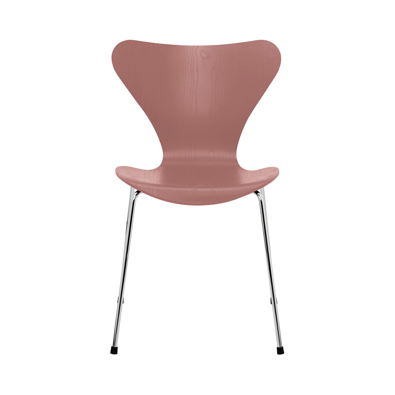 7 CHAIR COLOURED ASH WILD ROSE CHROME LEG