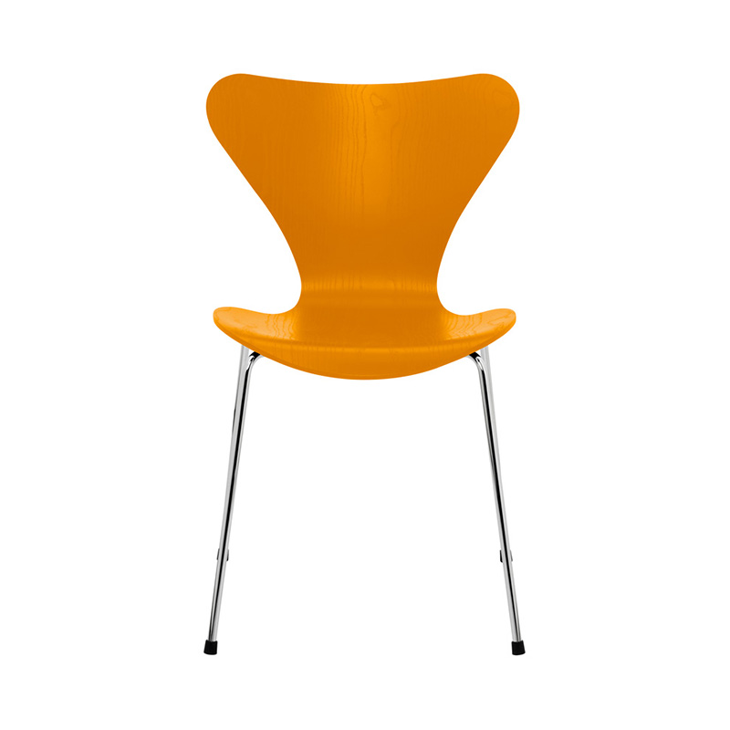 7 CHAIR COLOURED ASH BURNT YELLOW CHROME LEG